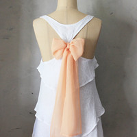 BELOVED AURA - Romantic white flowy tier blouse // pastel blush peach // chiffon sash bow // tunic // tank top // racerback