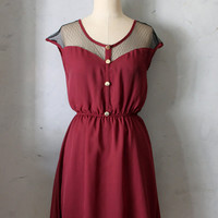 PETIT DEJEUNER in PORT - Vintage Inspired dark red chiffon dress // day // burgundy // party // bridesmaid dress // valentines