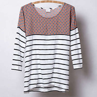 Anthropologie - Split Stripes Pullover