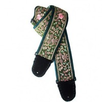 Dark Green Guitar Strap Hand Embroidered Silk India Floral Needlework | Coolstraps - Music/Instruments on ArtFire