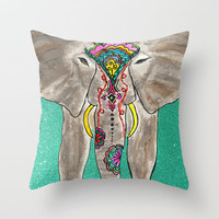 Elephant Trunk Art  Throw Pillow by Kayla Gordon