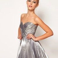 Lashes Of London Bandeau Dress in Metallic at asos.com