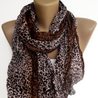 leopard wrinkled scarf , women accessories , gifts for her , brown beige
