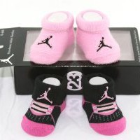 Amazon.com: Nike Air Jordan 2 Pairs Newborn Infant Baby Booties Socks Black and Pink w/Air Jordan Logo Size 0-6 Months: Baby