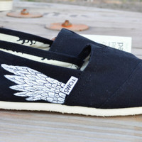 Hand Painted Toms Shoes - Black Toms with Wings - Hermes Painted Shoes