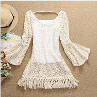 Trumpet sleeve folk embroidery flower tassel lace skirt
