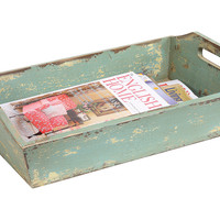 One Kings Lane - Cottage Charm - 20x13 Distressed Green Tray