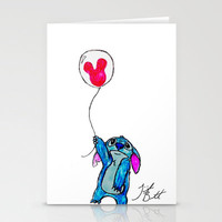 Stitch doesn't want to leave Disney World Stationery Cards by Trinity Bennett