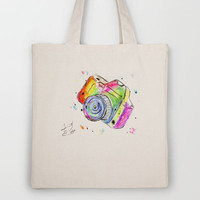 Watercolor Camera Tote Bag by Trinity Bennett