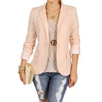 Peach Rayon Boyfriend Blazer