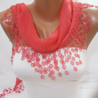 Women Bright Coral Cotton Shawl Scarf -Headband Cowl with Lace Edge