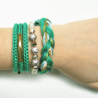 Emerald green bracelet stack, stackable bracelets, arm candy