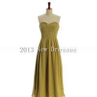 Cheap 2013 Sweetheart neck with empire waist floor-length chiffon Prom Bridesmaid Evening Dresses Party Dresses