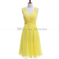 New 2013 Fashion with spaghetti straps Yellow Prom Evening Dresses Party Dresses