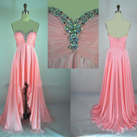 Cheap 2013 New Strapless Sweetheart With Crystal Front Short Long Back Pink Chiffon High Low Prom Evening Dresses