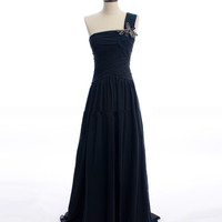 2013 One shoulder A-line chiffon dress Prom Dresses Evening Gown