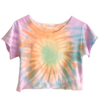 OMBRE SWIRL PASTELS Unique Tie Dye Swirl Crop Top Retro Custom Shirt