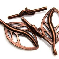 37mm x 18mm Leaf Toggle Clasps Copper Clad Zinc Alloy  2 Pack