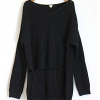 Oversized Knit Sweater-Black