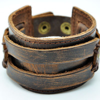 Friendship Punk Adjustable Brown Leather Woven Bracelets mens bracelet Gifts for Men Unisex Bracelet 2055S