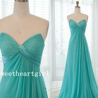 2013 New Arrival Hot Strapless Green Chiffon Beads Floor length prom dress