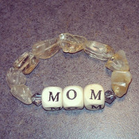 Mom&#x27;s  Wood ,Citrine and Swarovski Bracelet