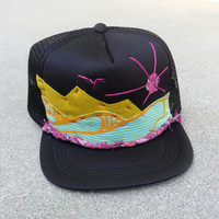 Hand Stitched Trucker Hat youth black surf waves island sun birds tropical