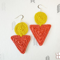 Red and Yellow Hemp Coiled Thread Wrap Geometric Earrings