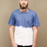 denim sepulveda dip dyed shirt by Civil clothing with acid camo collar | shopcuffs.com