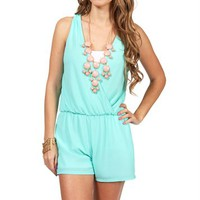 SALE-Mint Deep V Neck Romper