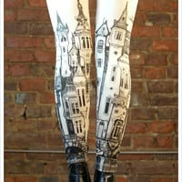 Victorian City Leggings - Womens Off White Legging tights - MEDIUM Legwear