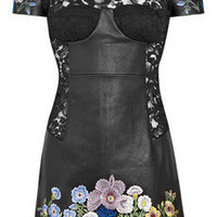 Christopher Kane|Jenny leather and lace embroidered dress