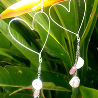 Sterling Silver Heart Hoop Long Dangle Seashell Earring