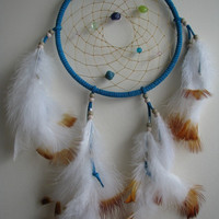 Authentic Native Dreamcatcher, dream catcher, 7 inch diameter, Turquoise suede