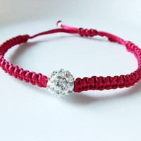 Red adjustable bracelet -swarovski bead - with macreme design