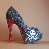Jolly Roger Pirate Glitter High Heels