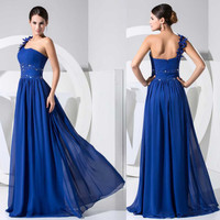 Royal blue one shoulder dress Sweetheart Sleeveless backless Wedding dress Beading Chiffon flloor length Long Prom Dress /Evening Dresses/