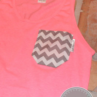 Neon Pink Tank with Grey Chevron Fabric Pocket