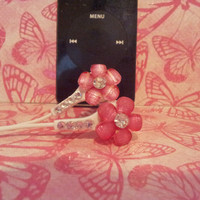 Pretty Petite Pink Petal flower earbuds with swarovski crystals