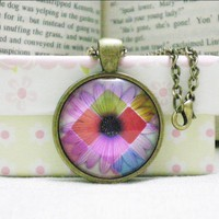 Cabochon Necklace, Daisy, Glass Image Pendant Necklace Handmade | Luulla