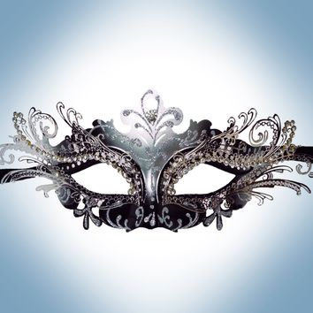 Venetian Black Mask w/ Silver Metal Laser-cut and Crystals on Eyes