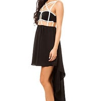 Reverse Cut Out Dress Caged in Black