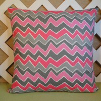 Zigzag Pillow Cover in Shades of Pink, Rose, and Gray with White
