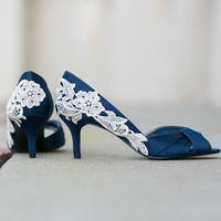 Wedding Shoes - Navy Blue Bridal Shoes, Navy Wedding Heels with Ivory Lace. US Size 8.5