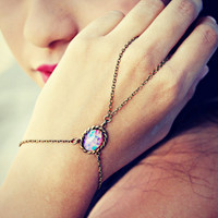 pink opal slave bracelet, ring bracelet, slave ring, unique bracelet, opal ring