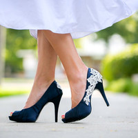 Wedding Shoes. Navy Blue Wedding Shoes, Navy Heels with Ivory Lace. US Size 8.5