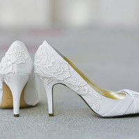 Wedding Shoes - Ivory Bridal Shoes, Ivory Wedding Heels with Ivory Lace. US Size 9.5