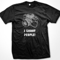 I Shoot People T-shirt, Funny College T-shirts: Clothing