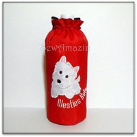 Westies Rule Insulated Water Bottle Carrier, Red with Adjustable Strap