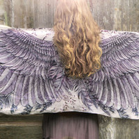 Women scarf, Dusty purple Wings and feathers in Modal/rayon, stunning unique and useful, perfect gift